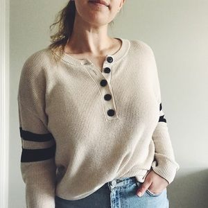 ae | oversized knit henley style sweater